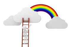3d man climbing on a ladder, clouds and rainbow competitive concept Stock Photography