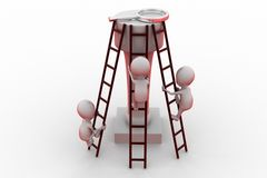 3d man climbing ladder concept Royalty Free Stock Image