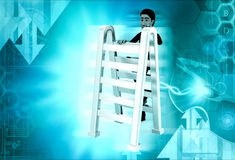 3d man climbing ladder concept Stock Photo