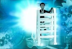 3d man climbing ladder concept Stock Image