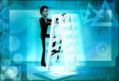 3d man climbing ladder concept Royalty Free Stock Photo