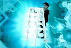 3d man climbing ladder concept Royalty Free Stock Image