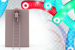 3d man climbing ladder  illustration Royalty Free Stock Image