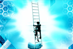 3d man climbing ladder supported by another man illustration Stock Photography