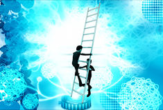 3d man climbing ladder supported by another man illustration Stock Image