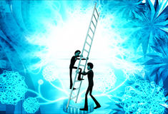 3d man climbing ladder supported by another man illustration Royalty Free Stock Photo