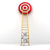 3D Man climbing ladder to the red goal target Stock Photography