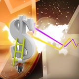 3d man climbing ladder toward financial symbol. In color background Royalty Free Stock Photo