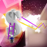 3d man climbing ladder toward financial symbol. In color background Stock Image