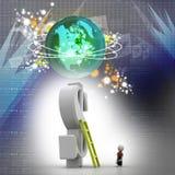 3d man climbing ladder toward financial symbol Stock Image
