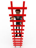 3d man climbing stairs with paper scroll concept Stock Image
