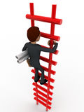 3d man climbing stairs with paper scroll concept Royalty Free Stock Photo