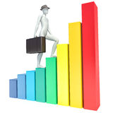 3d man climbs on chart Royalty Free Stock Image
