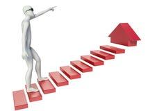 3d man climbs on chart.  stock illustration