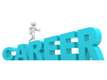 3d man climbs the ladder of career. 3d render Royalty Free Stock Images