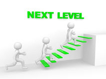 3d man climbs the ladder of next level. 3d render Royalty Free Stock Photography