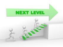 3d man climbs the ladder of next level. 3d render Stock Photos
