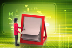 3d man with clip board. In color background Stock Images
