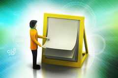 3d man with clip board. In color background Stock Photography