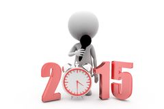 3d man 2015 clock concept Royalty Free Stock Images