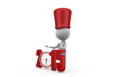 3d man 2015 clock concept Royalty Free Stock Photos