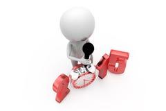 3d man 2015 clock concept Stock Images