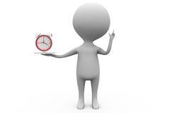 3d man clock in hand concept Stock Photos