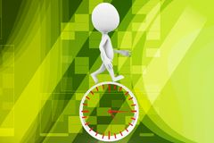 3d man clock illustration Royalty Free Stock Image