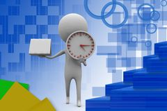 3d man clock with note illustration Stock Photography