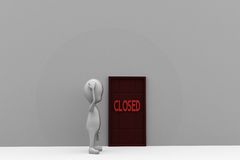 3d man closed door concept Stock Images
