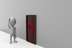 3d man closed door concept Stock Image