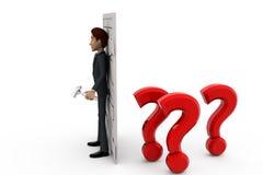3d man closed door of doubt concept Stock Images