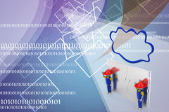 3d man with cloud and closed door illustration Stock Images