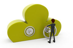 3d man cloud lock concept Stock Photo