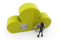 3d man cloud lock concept Stock Photos