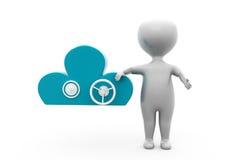 3d man cloud security concept Stock Image