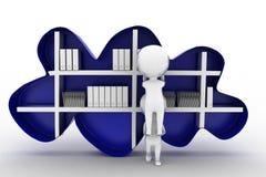 3D man cloud shelf book concept Royalty Free Stock Photos