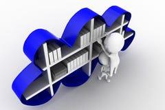 3D man cloud shelf book concept Stock Images