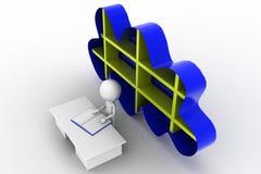 3D man cloud shelf concept Royalty Free Stock Photos