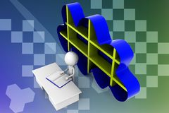 3D man cloud shelf illustration Royalty Free Stock Images