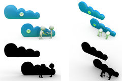 3d man cloud storage Concept Collections With Alpha And Shadow Channel Stock Images