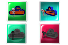 3d Man cloud storage concept icon Royalty Free Stock Image