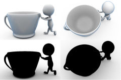 3d man coffee concept collections with alpha and shadow channel Stock Photos