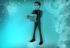 3d man coffee cup illustration Royalty Free Stock Photography