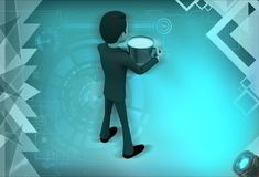 3d man coffee cup illustration Royalty Free Stock Images