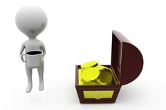 3d man coffee near treasure box concept Royalty Free Stock Photos