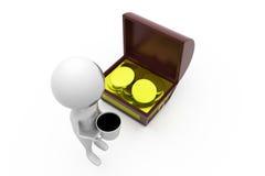 3d man coffee near treasure box concept Stock Images