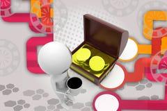 3d man coffee near treasure box illustration Stock Image