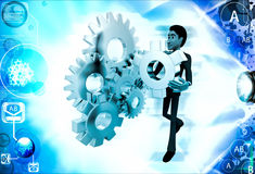 3d man with cog wheels illustration Royalty Free Stock Images