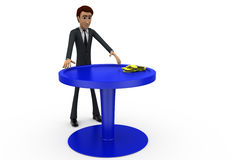3d man with coin on table concept Stock Image